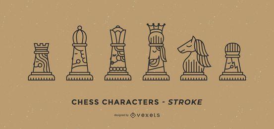 Conjunto de tacadas de personagens de xadrez