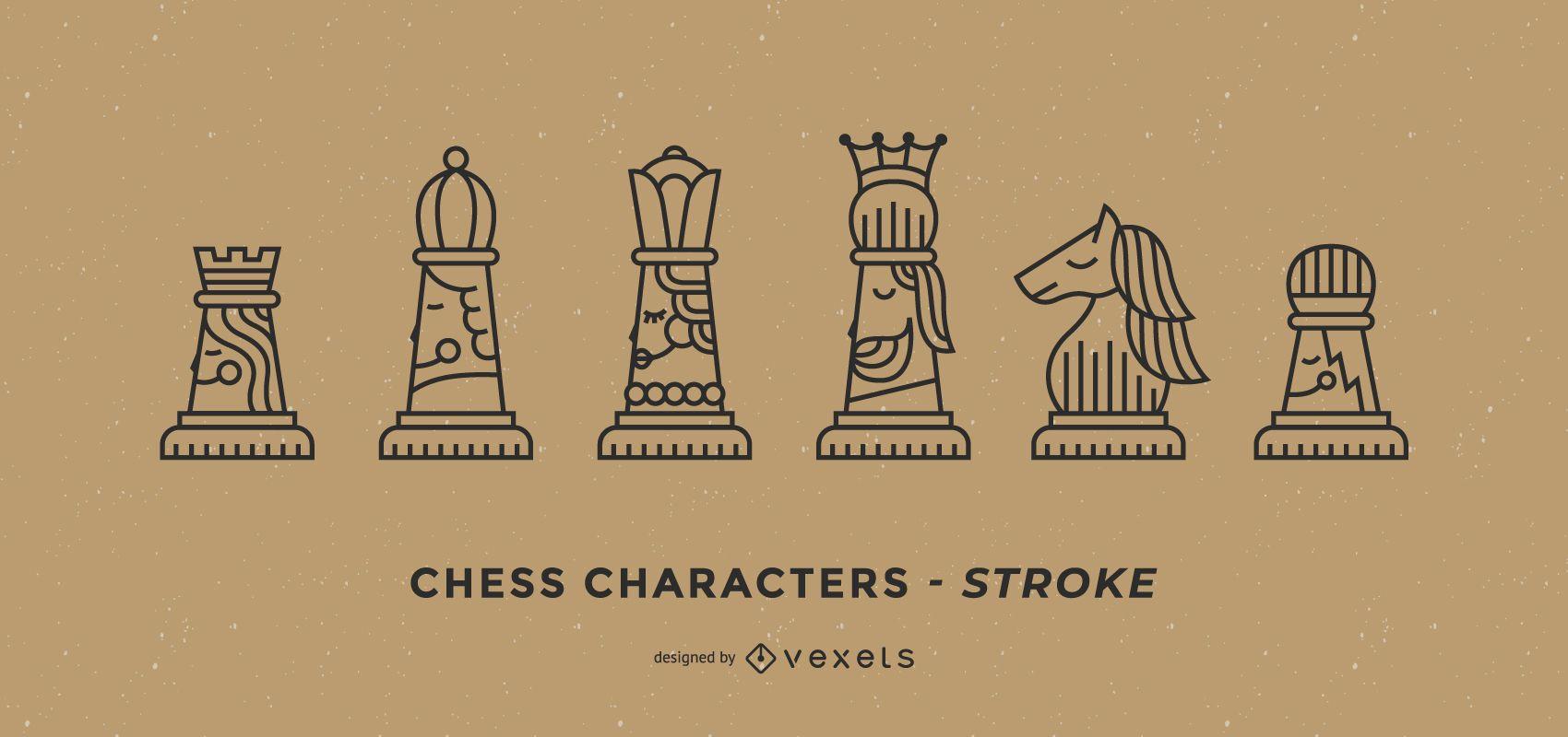 Conjunto de trazos de personajes de ajedrez