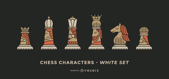 Juego de personajes de ajedrez blanco