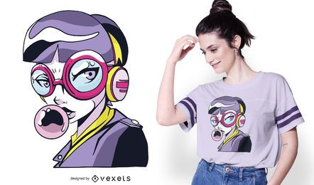 Anime Mädchen Mit Brille T-Shirt Design