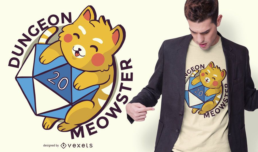 Design de t-shirt do calabouço meowster