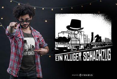 Design de camiseta com citações alemãs de trem de xadrez