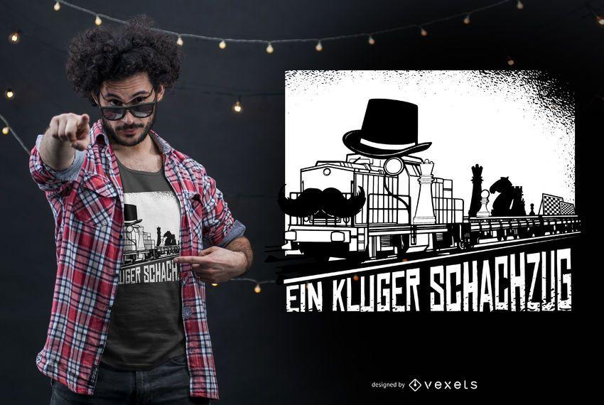 Chess Train German Quote T-shirt Design