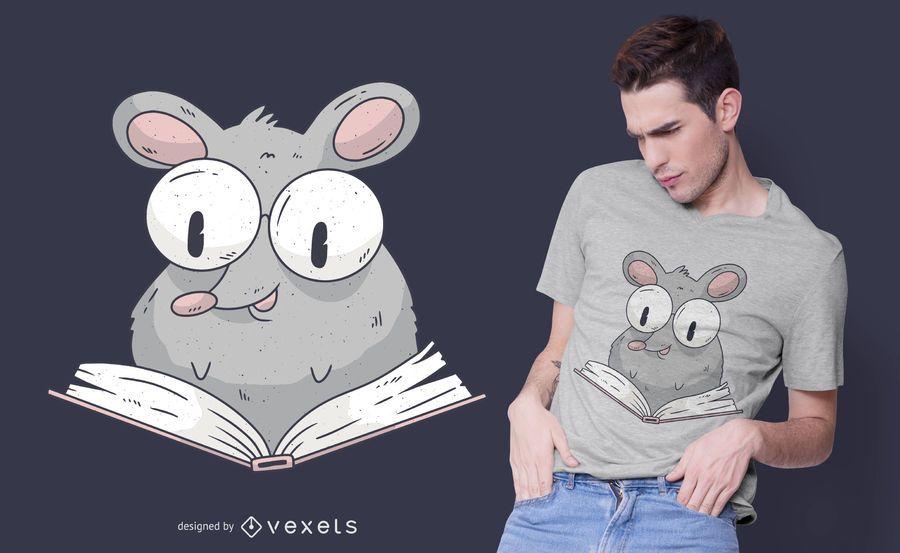 Design de camiseta de rato de leitura
