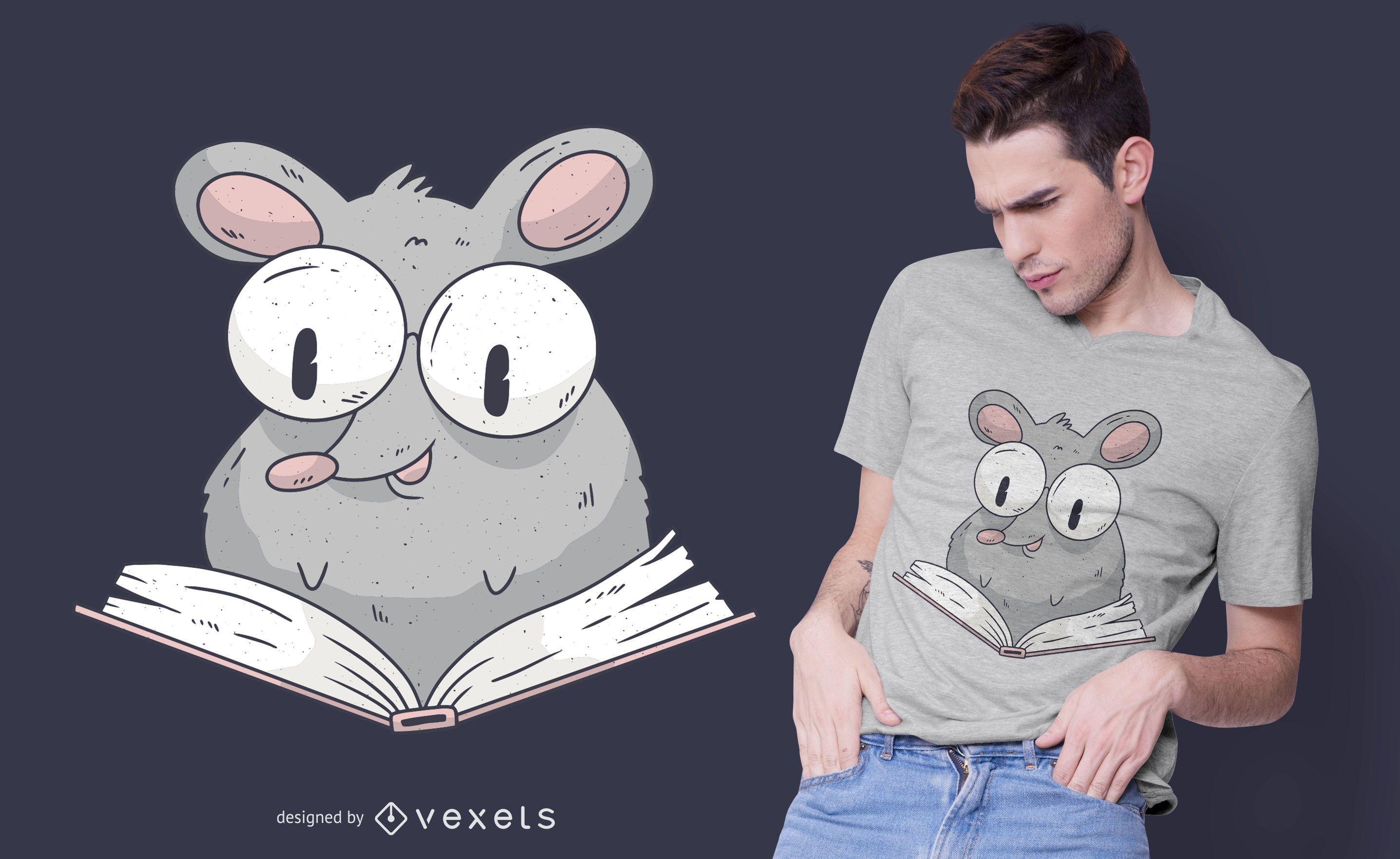 Diseño de camiseta de rata de lectura