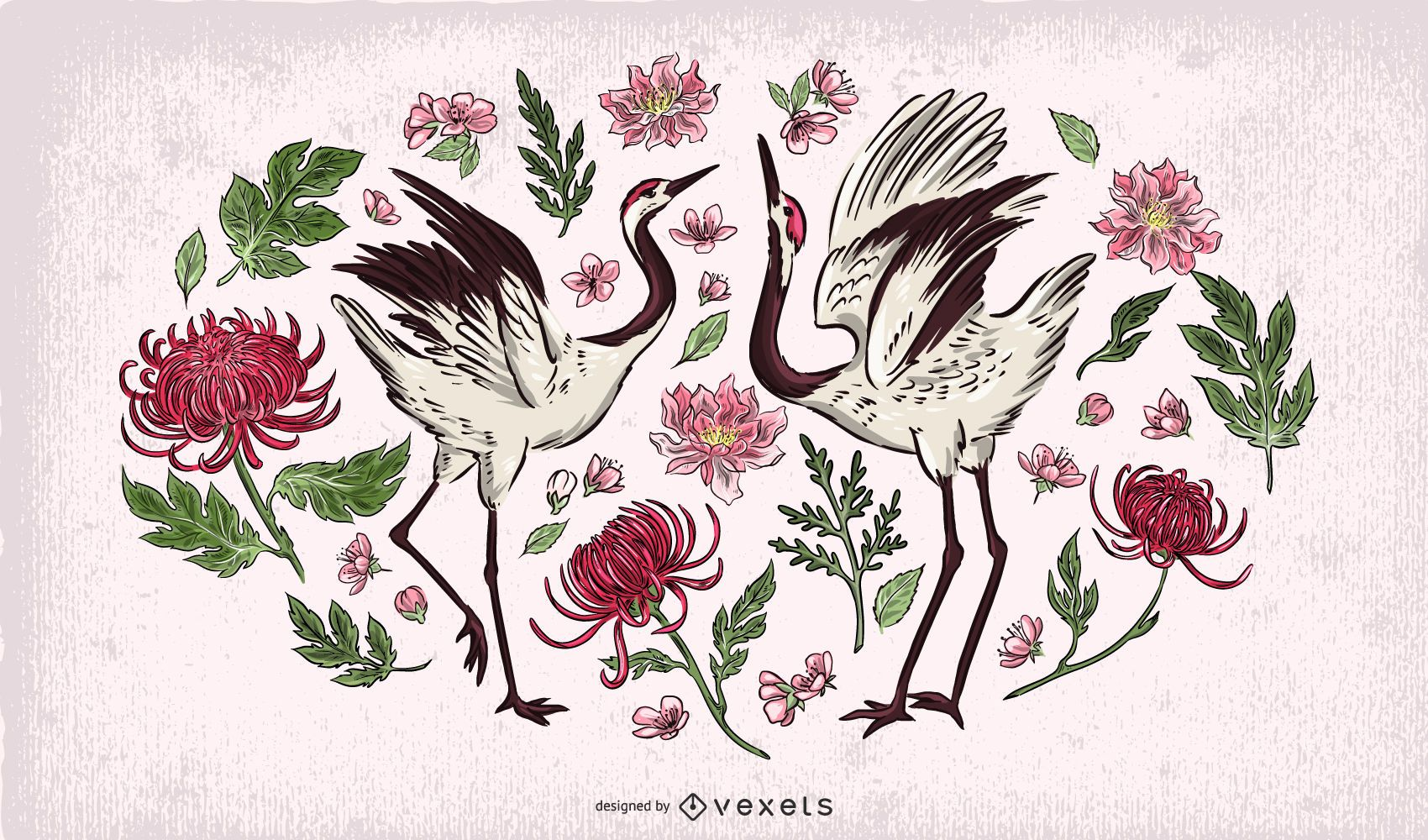 Ilustração de casal de guindaste