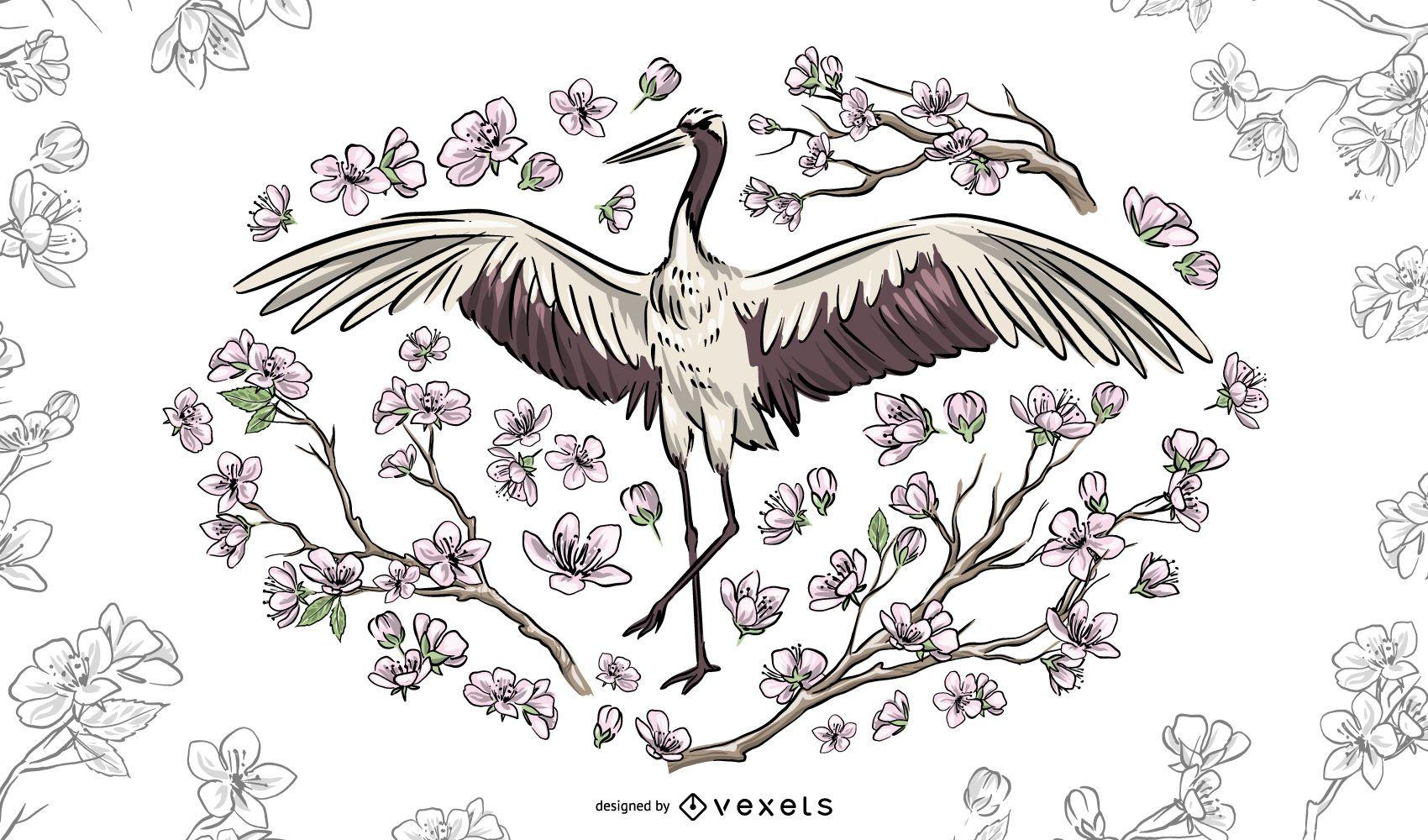 Ilustración floral hermosa de la grúa