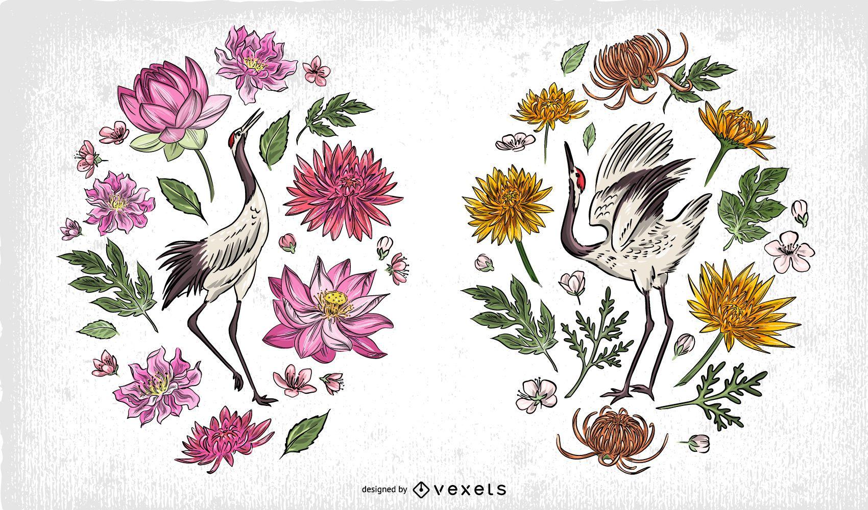 Paquete de ilustración de grúa china