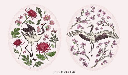 Crane Illustration Floral Set
