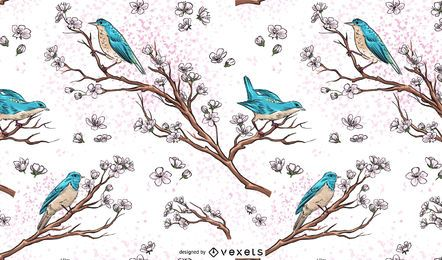 Ilustração do papel de parede de pássaros em ramos