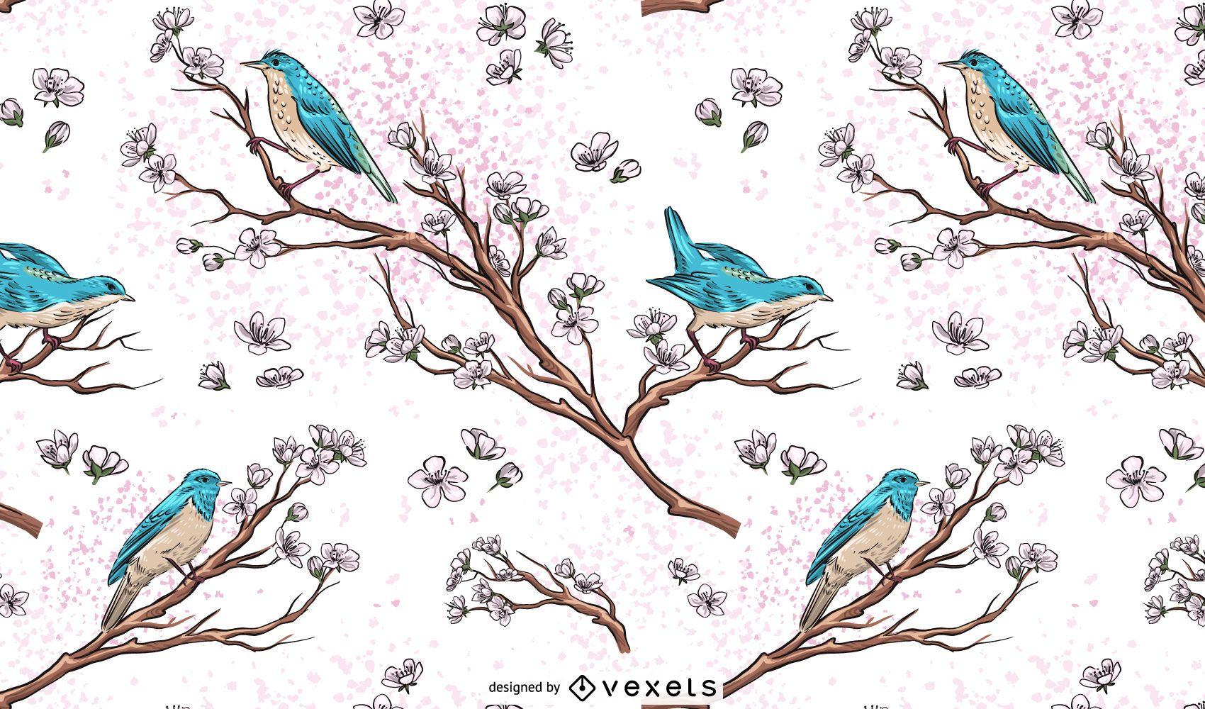 Birds on Branches Wallpaper Illustration