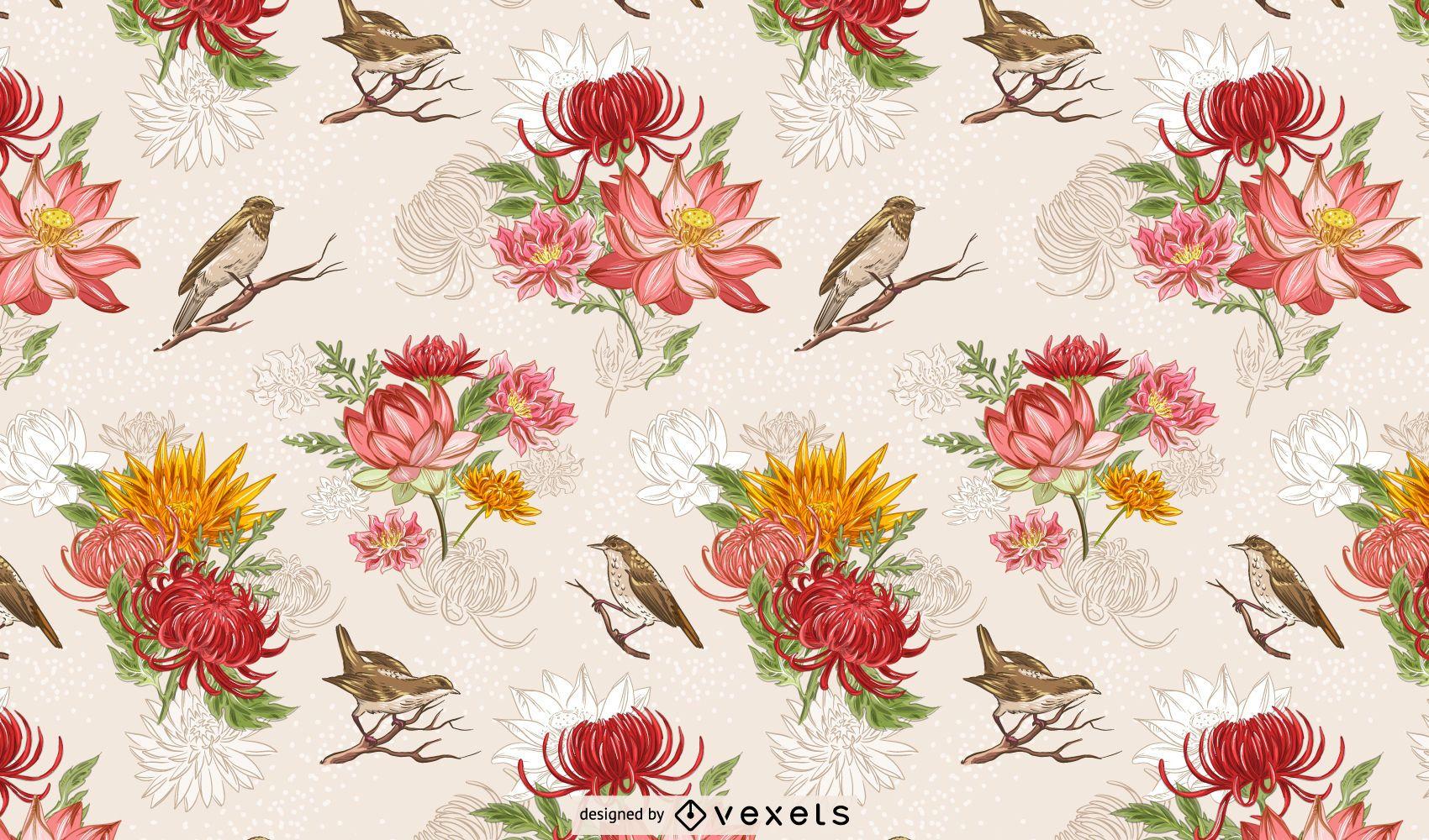 Diseño de patrones de flores y pájaros chinos