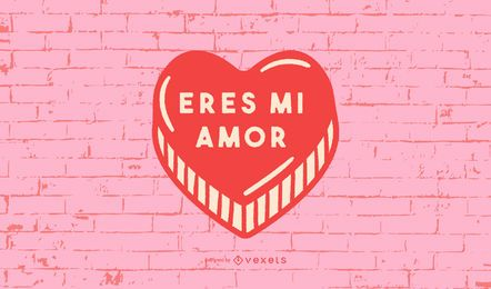 Valentine's Heart Spanish Quote Design