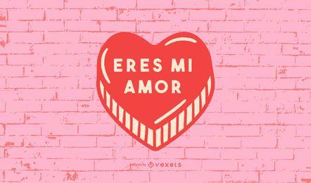 Valentinstag Herz Spanisch Zitat Design