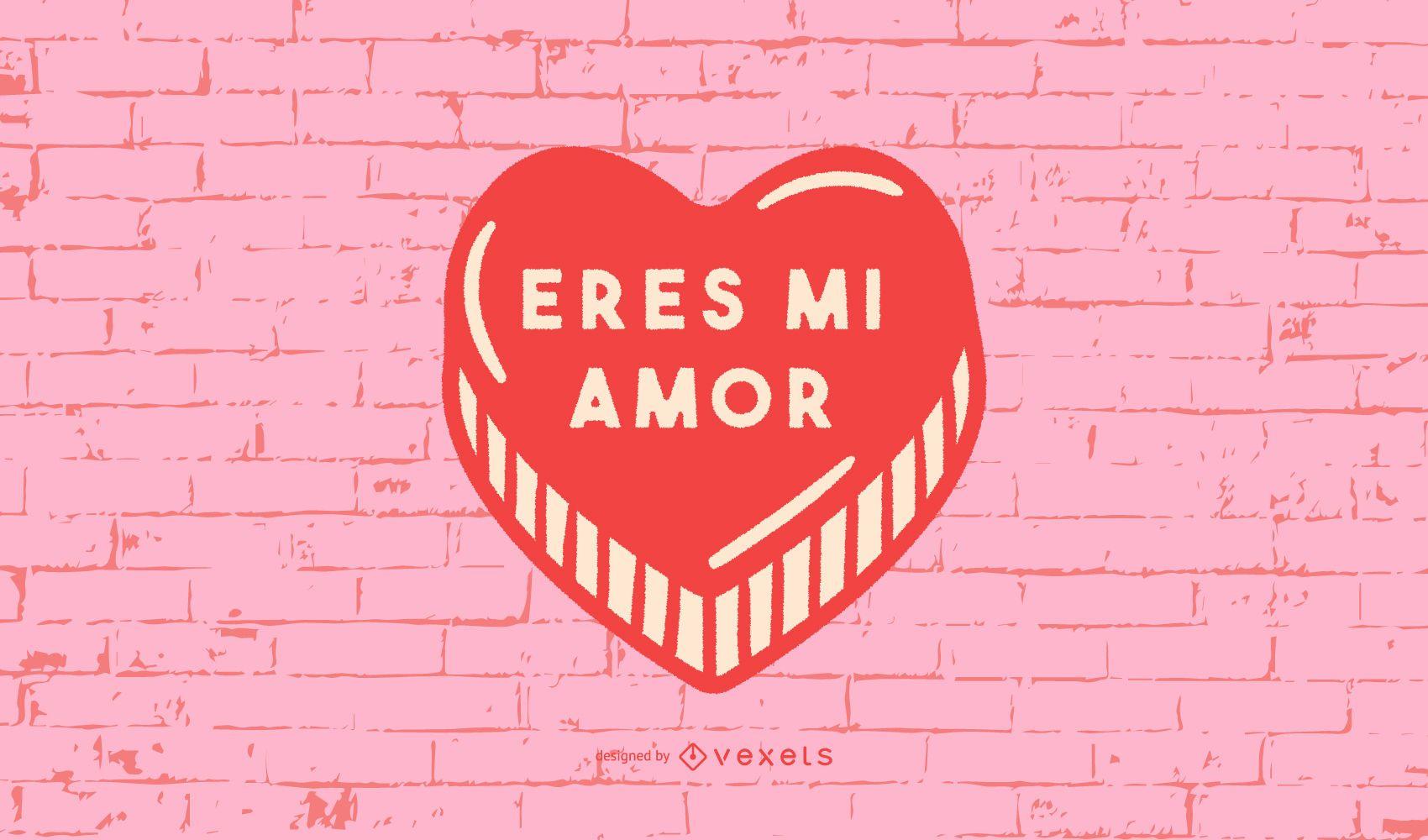 Valentine's Heart Spanish Quote Design