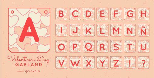 Valentinstag Girlande Banner Alphabet festgelegt