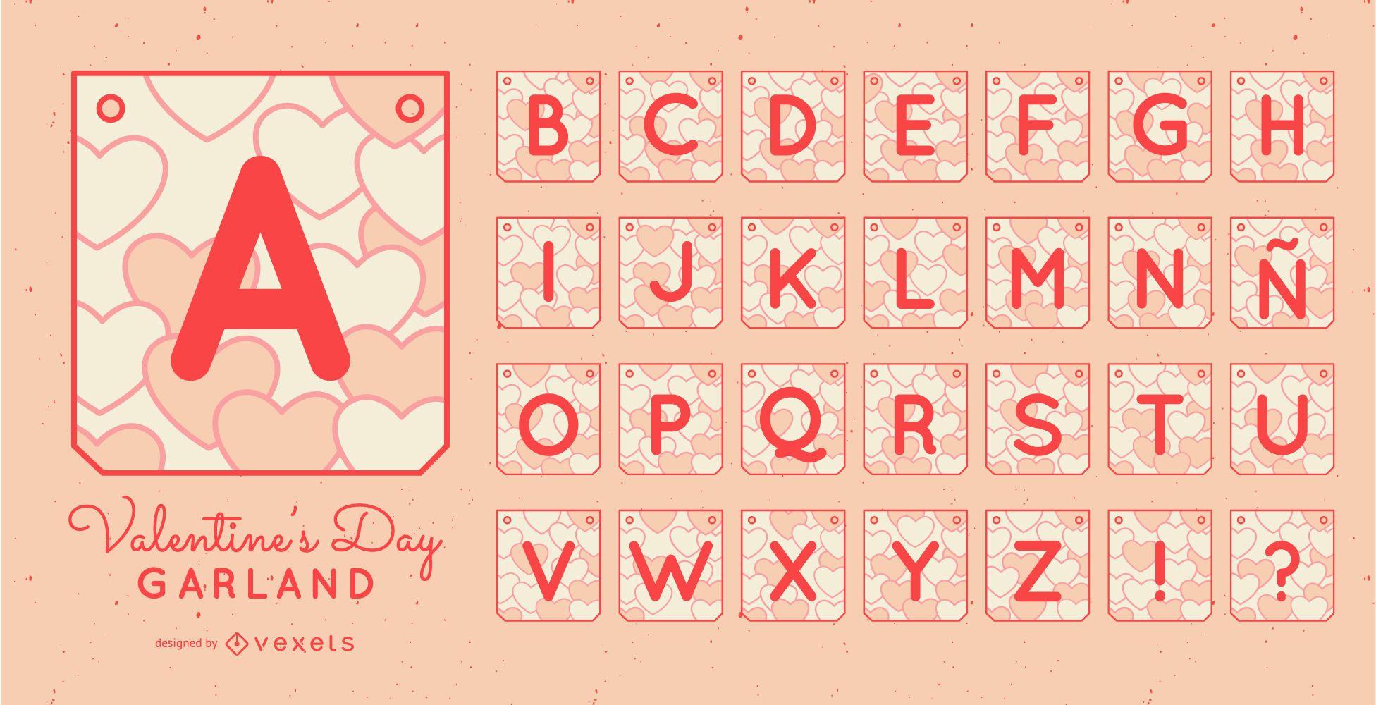 Conjunto de alfabeto de banner de guirnalda de San Valentín
