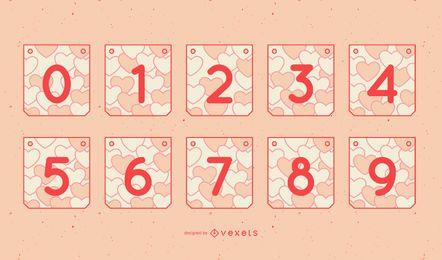 Conjunto de números de guirnaldas de San Valentín