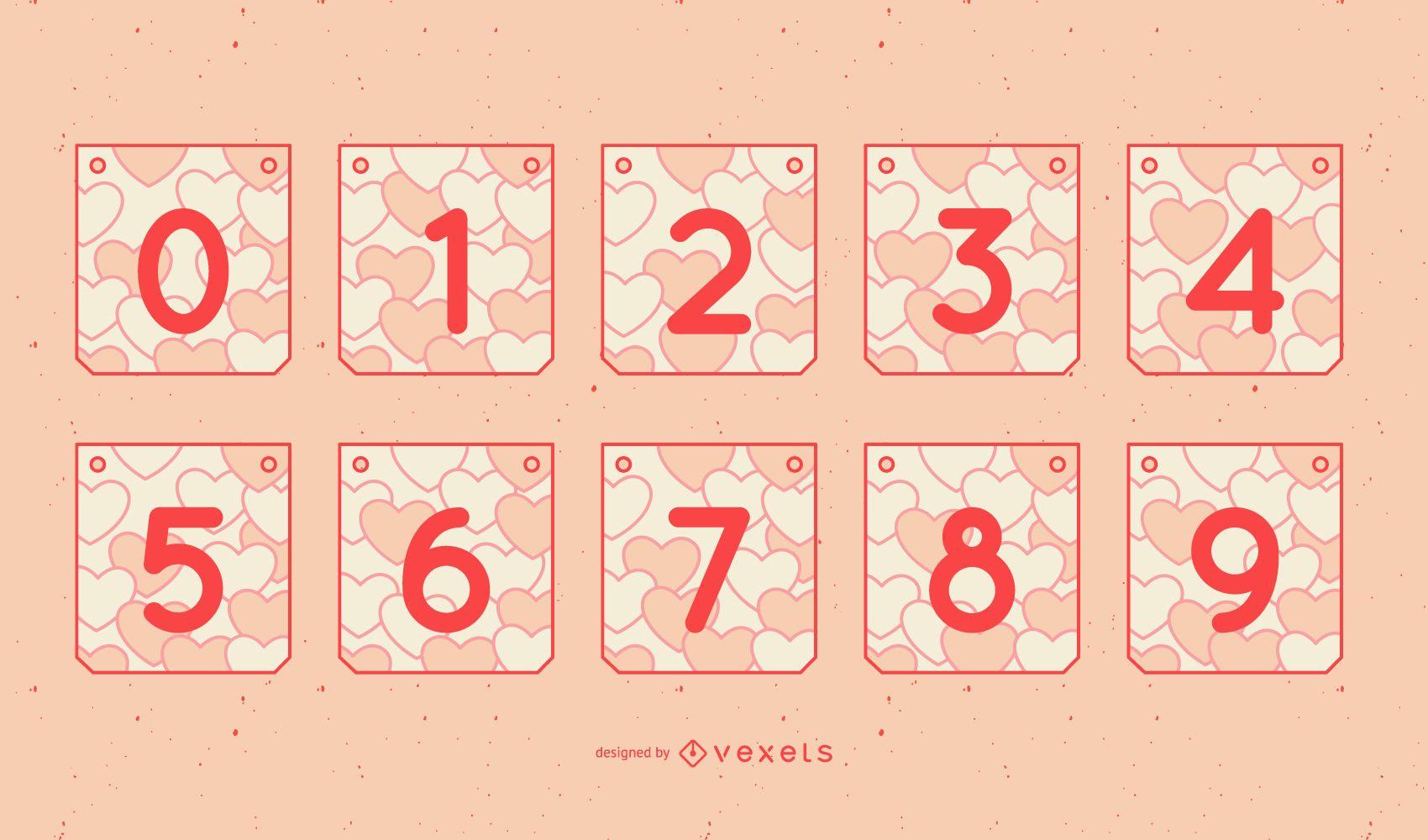 Valentine's Day Garland Number Set
