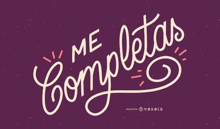 Você me completa design de citações em espanhol