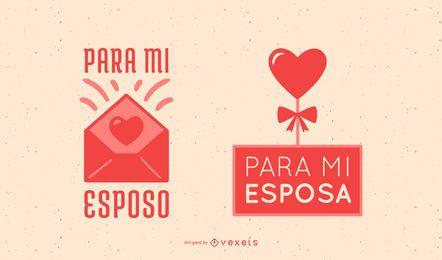 Banners de citações espanholas dos namorados