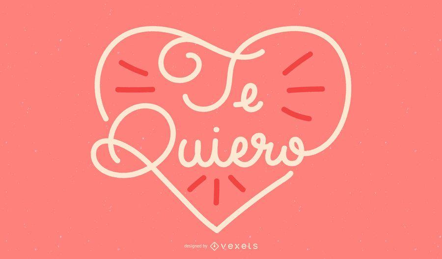 Eu te amo design de letras espanholas