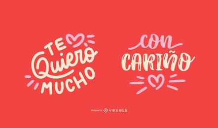 Conjunto de diseño de cita en español de San Valentín
