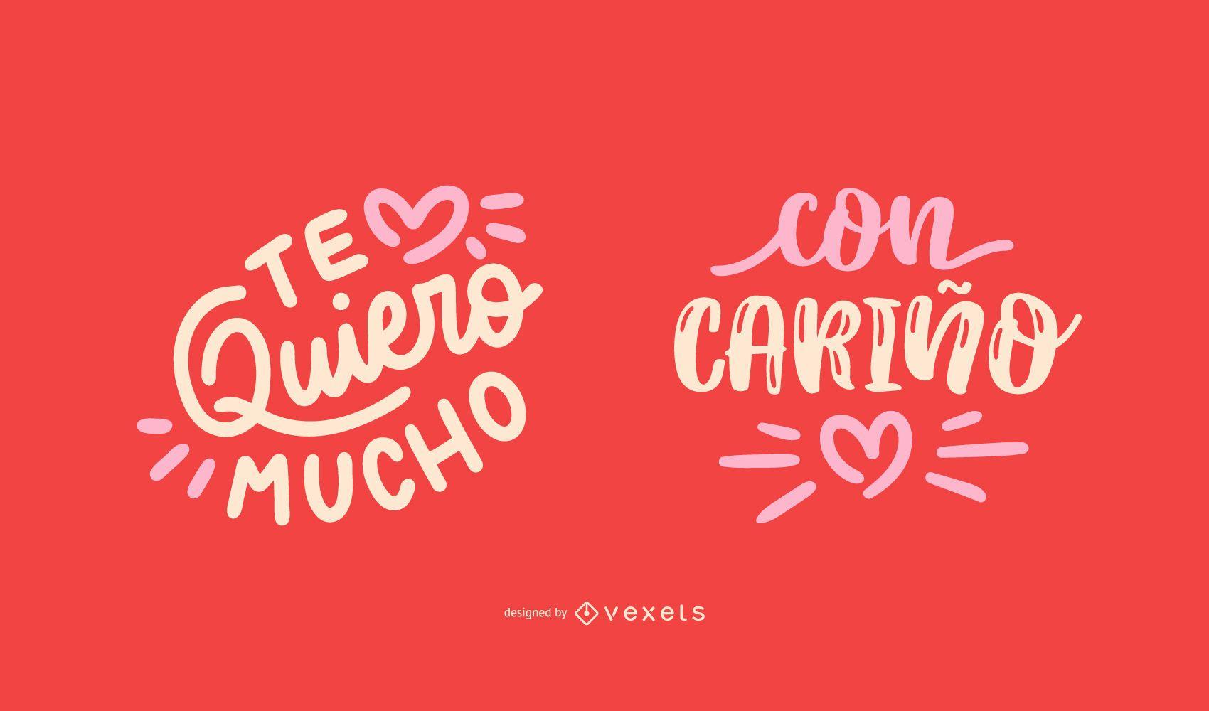 Conjunto de Design de Citações Espanholas para Dia dos Namorados