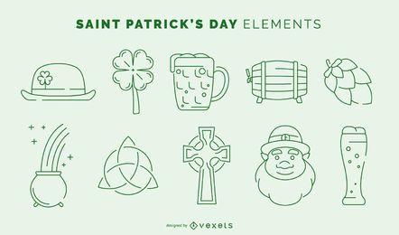Conjunto de elementos de trazo del día de San Patricio