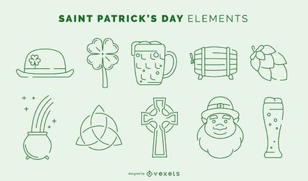 St. Patricks Day Stroke Element Set