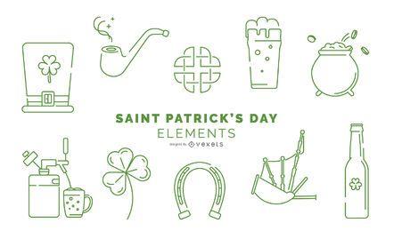 Pacote de elementos de traçado do dia de São Patrício
