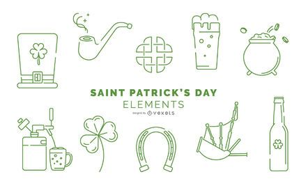 St. Patricks Day Stroke Element Pack