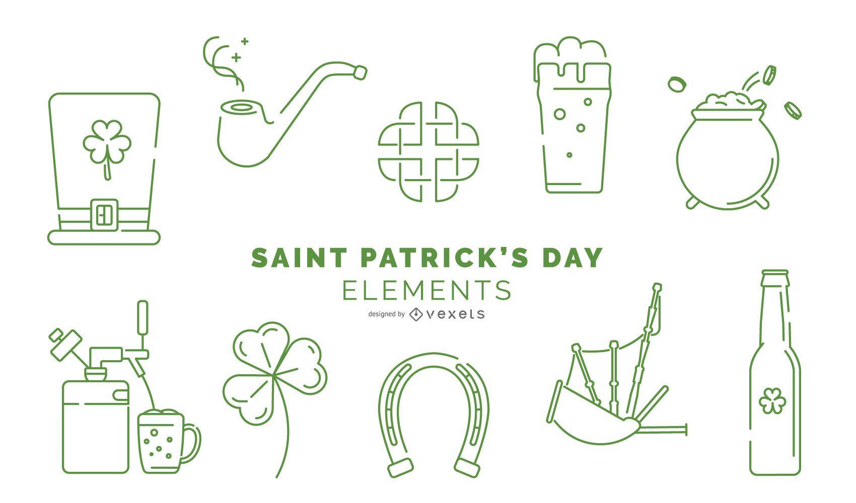 Paquete de elementos de trazo del día de San Patricio