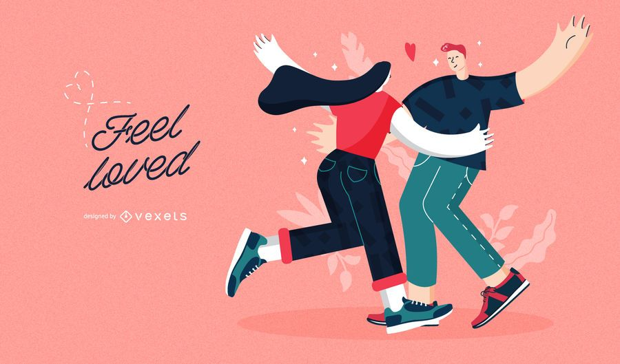 Sinta-se amado casal ilustração dos namorados