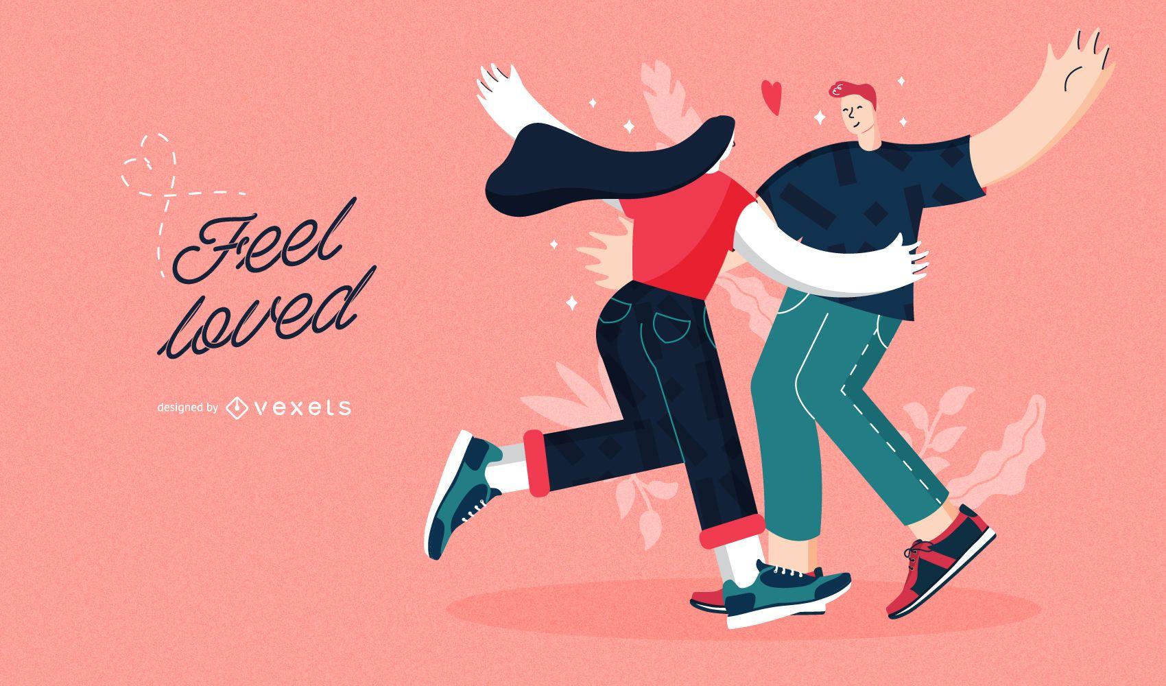 Feel loved couple valentines illustration