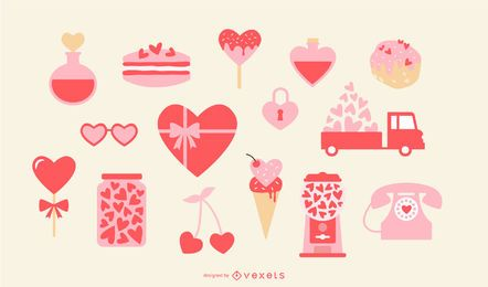 Conjunto de elementos de coração dia dos namorados
