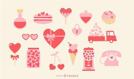 Conjunto de elementos de corazón de San Valentín