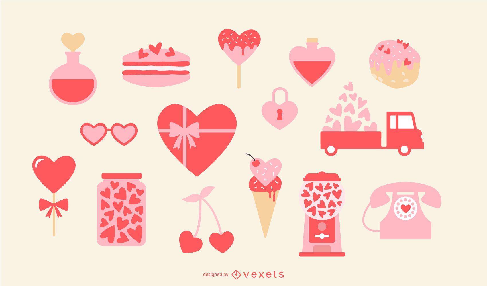 Conjunto de elementos do coração do dia dos namorados