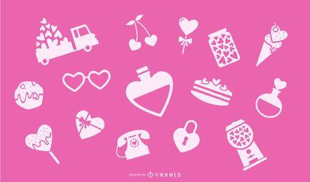 Elementos de coração dia dos namorados