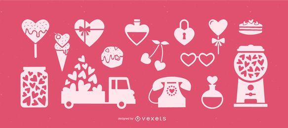 Elementos do coração do dia dos namorados