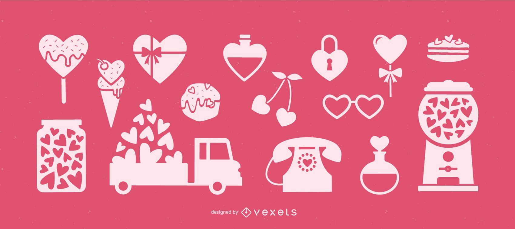 Valentine's day heart elements