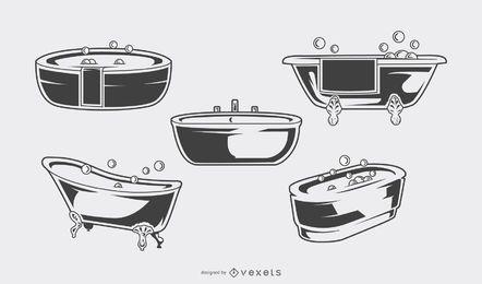 Vintage Badewanne schwarz Set