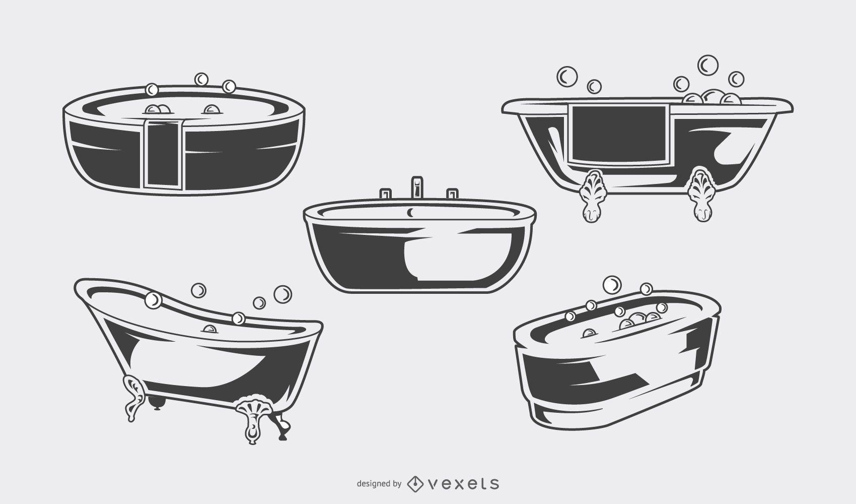 Vintage bathtub black set