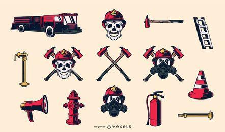 Elementos desenhados à mão de bombeiro