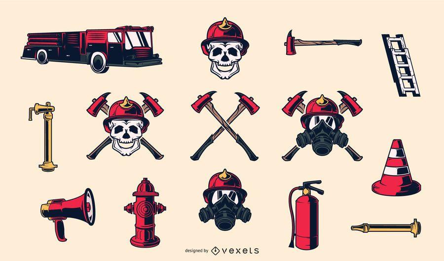 Elementos dibujados a mano de bombero