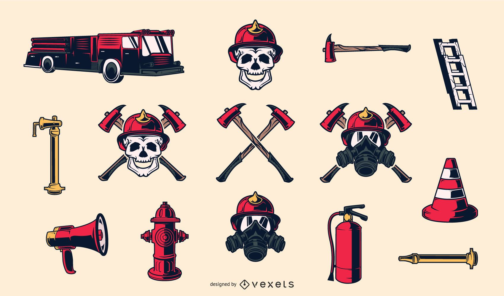 Elementos dibujados a mano bombero