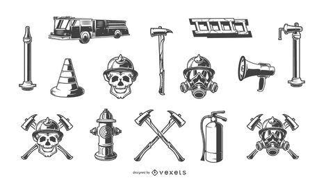 Conjunto de elementos dibujados a mano de bombero
