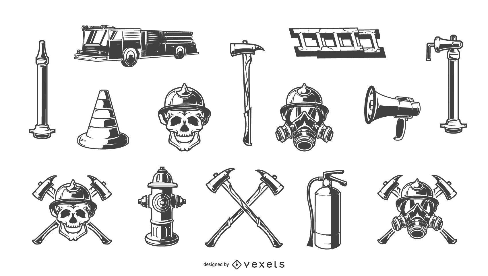 Conjunto de elementos de m?o desenhada de bombeiro