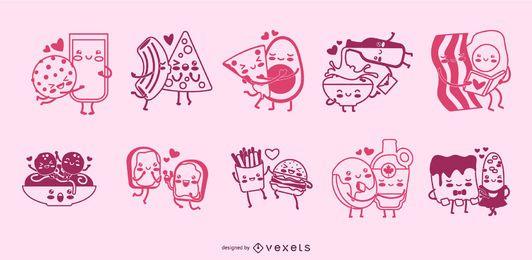 Casais de comida traço conjunto de caracteres