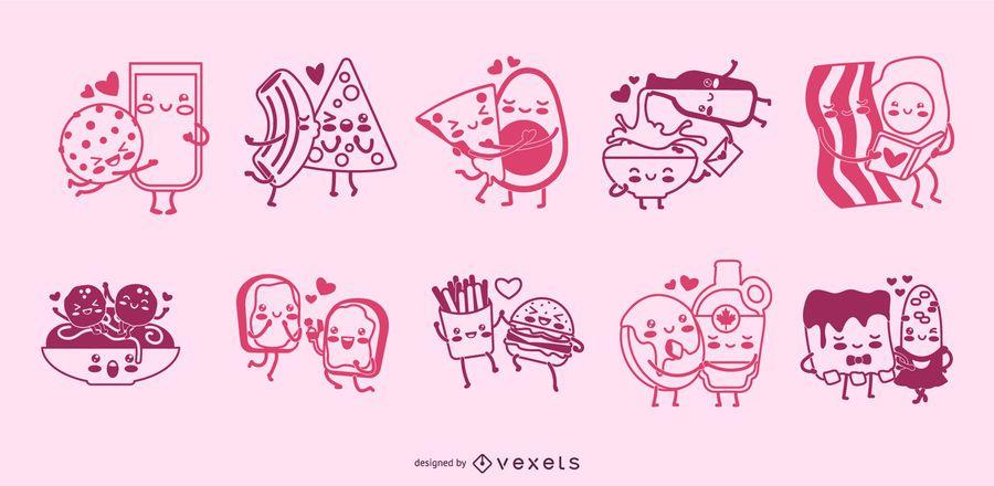 Conjunto de caracteres de trazo de parejas de comida
